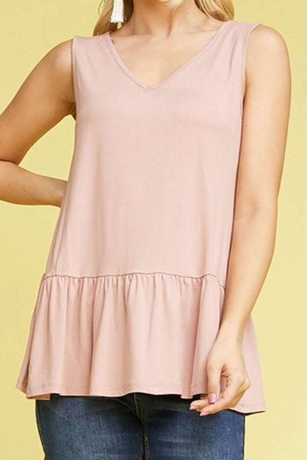 Light Mauve V-Neck Ruffle Hem Sleeveless Top