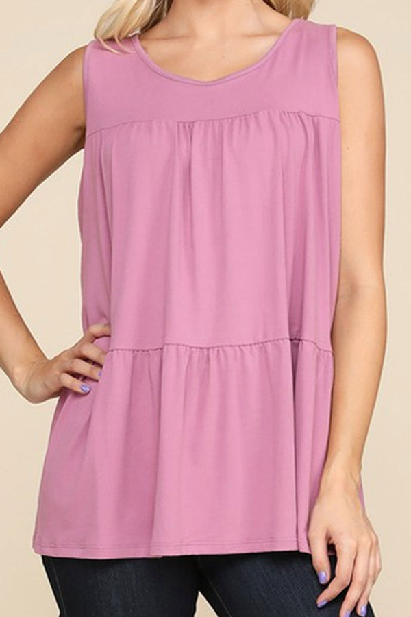 Plus Size Mauve Tiered Sleeveless Top