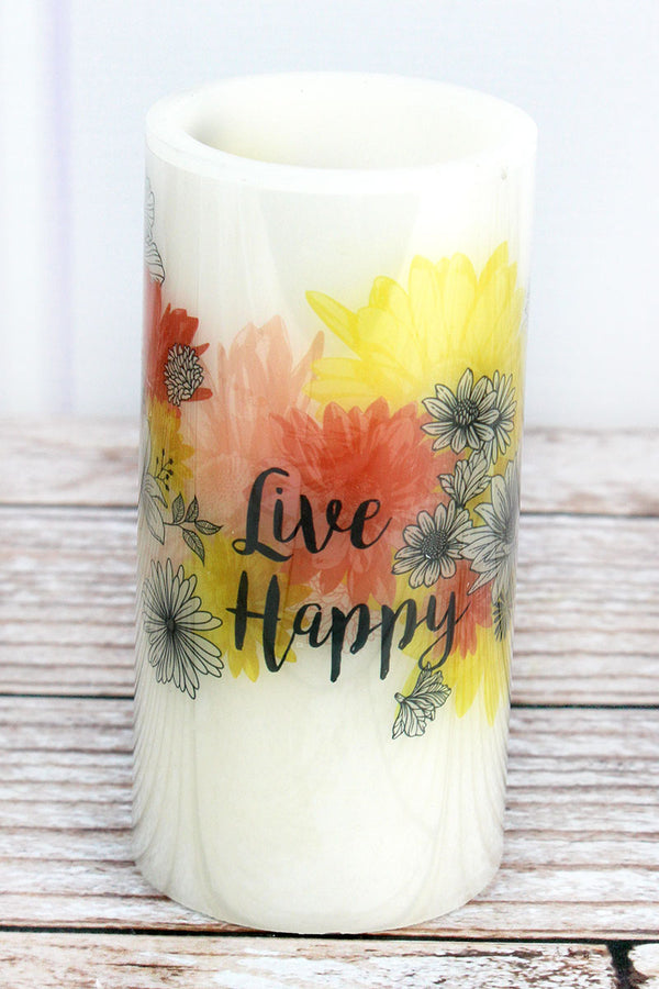 6 x 3 'Live Happy' Garden Party LED Candle