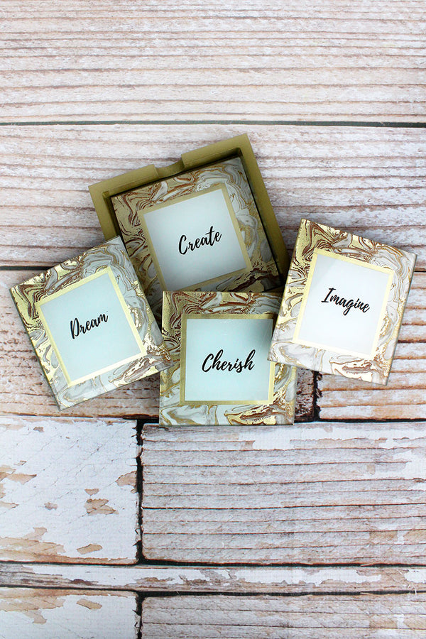 Four Inspirational White Marble Coasters with Holder Set