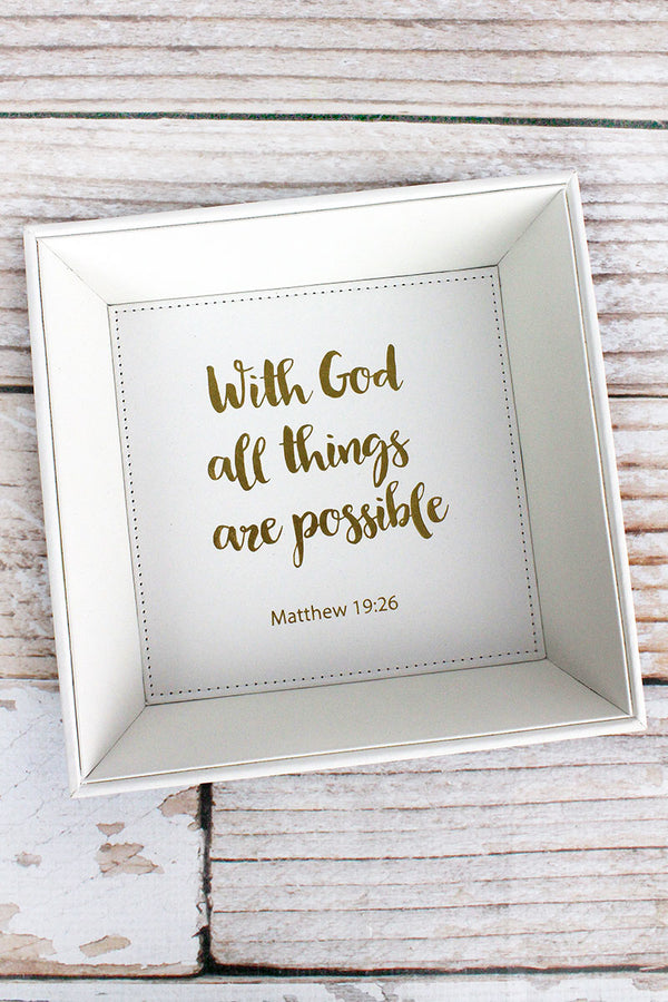 7.5 x 7.5 'With God' White Faux Leather Catchall Tray