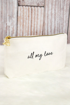 White 'All My Love' Pouch
