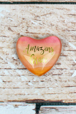 Amazing Grace Glass Heart Magnet