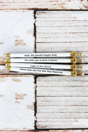 One White Christmas Message Pearl Crown Pen - SHIPS ASSORTED