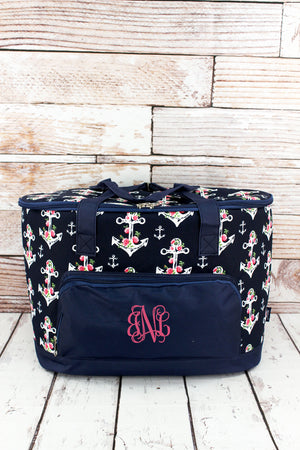 Anchor Blossom and Navy Cooler Tote with Lid