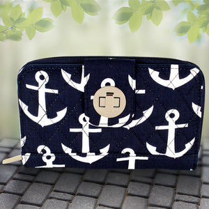 Navy with White Anchors Quilted Organizer Clutch Wallet #DDT517-NAVY