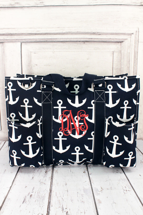 Navy with White Anchors Large Organizer Tote #DDT733-NAVY
