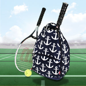 Navy and White Anchors Tennis Backpack #DDT734-NAVY