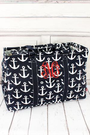 Navy with White Anchors Collapsible Double Haul-It-All Basket with Mesh Pockets and Lid #DDT809-NAVY