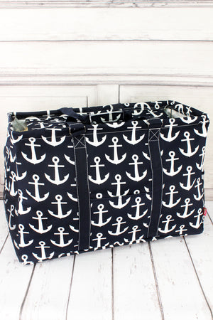 Navy with White Anchors Collapsible Double Haul-It-All Basket with Mesh Pockets and Lid