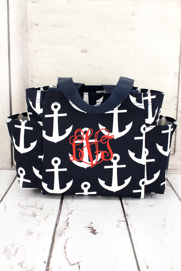 Navy with White Anchors Organizer Tote #DDT903-NAVY
