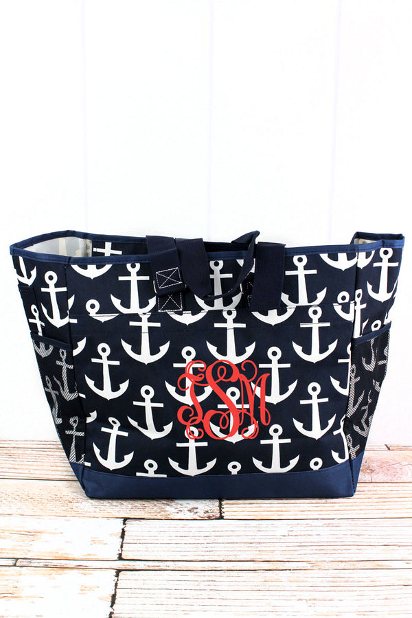 Navy with White Anchors Everyday Organizer Tote