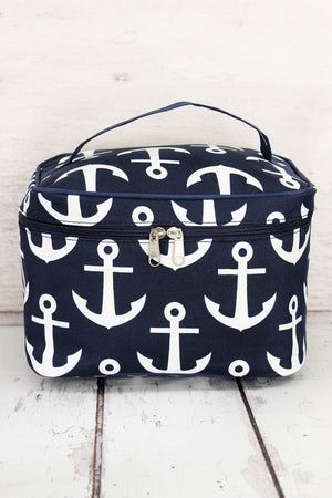 Navy with White Anchors Train Case