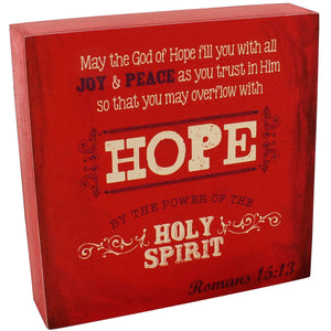 "6.25"" x 6.25"" Romans 15:13 Wall/Tabletop Decor #WBL002"