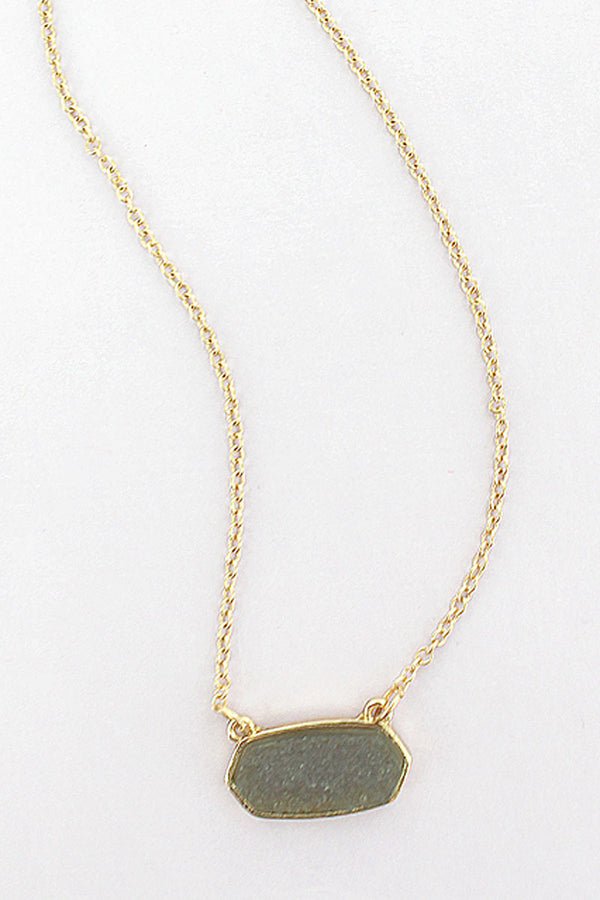 Gray Druzy Elongated Hexagon Pendant Necklace