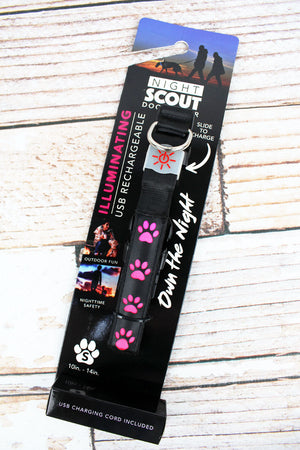 Black and Pink Paw Print Illuminating Dog Collar *Choose Your Size