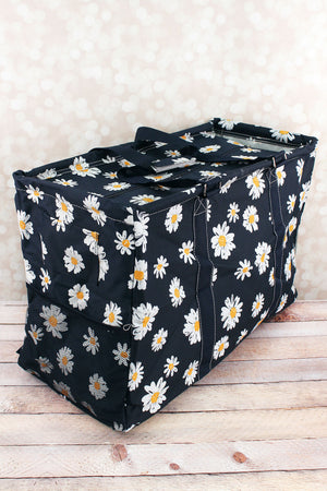 Daisy Delight Collapsible Double Haul-It-All Basket with Mesh Pockets and Lid