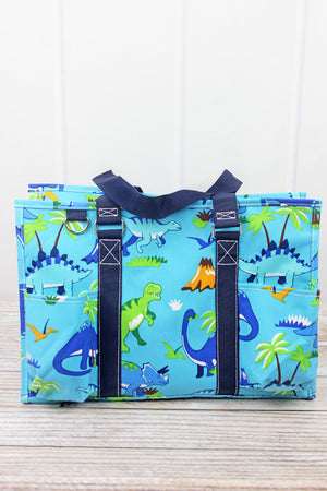 Dinosaur World Utility Tote with Navy Trim