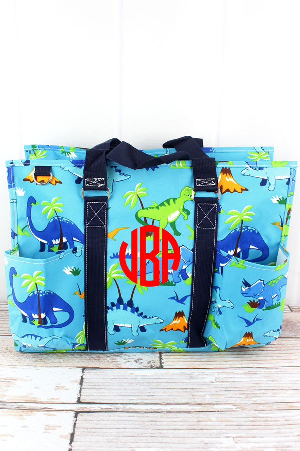 Dinosaur World with Navy Trim Large Organizer Tote