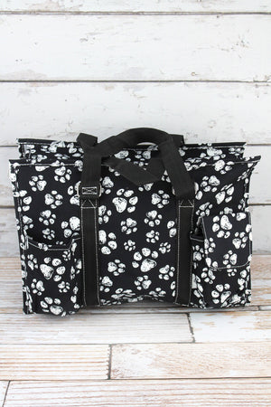 Puppy Prints Utility Tote with Black Trim