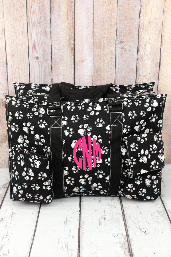 Puppy Prints with Black Trim Large Organizer Tote