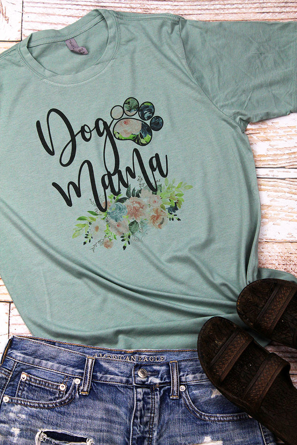 Floral Dog Mom Poly/Cotton Tee