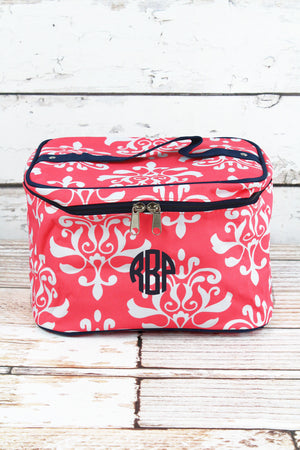 Coral Victorian Damask Train Case