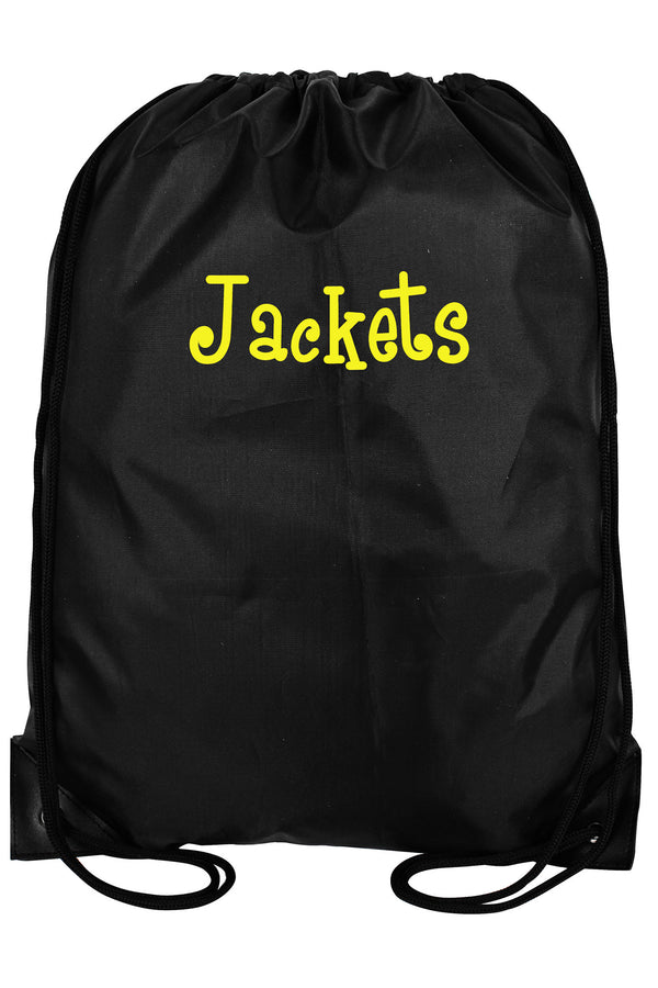 Black Flat Drawstring Backpack #8886-BLACK