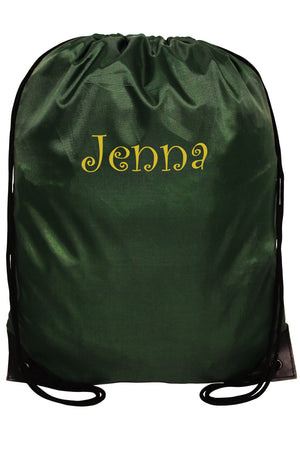 Forest Green Flat Drawstring Backpack #8886-FOREST
