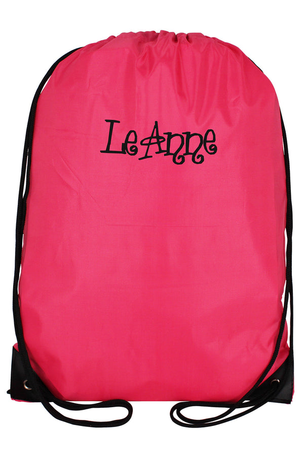 Hot Pink Flat Drawstring Backpack #8886-HOTPINK