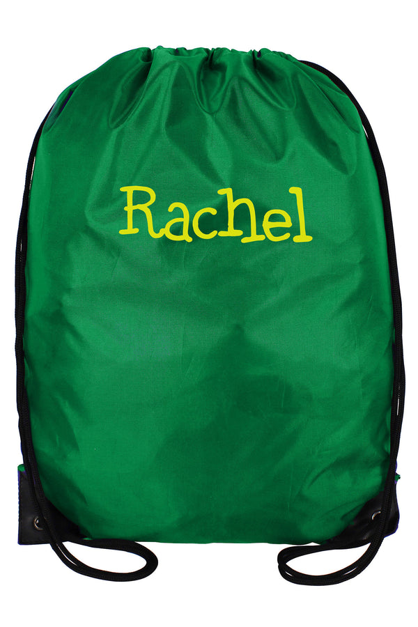 Kelly Green Flat Drawstring Backpack #8886-KELLY