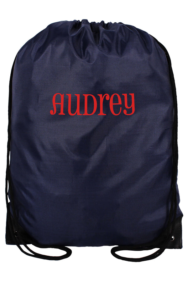 Navy Flat Drawstring Backpack #8886-NAVY