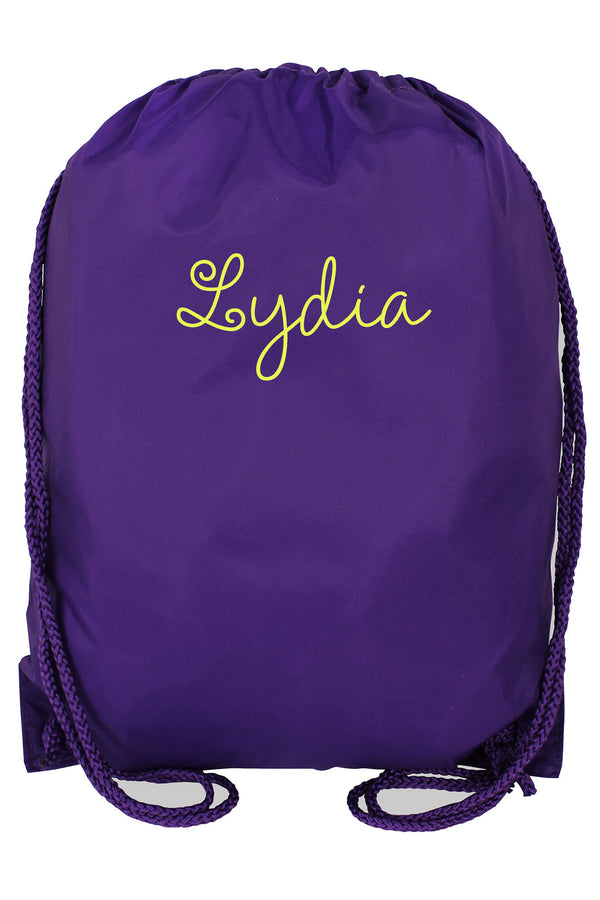 Purple Drawstring Backpack
