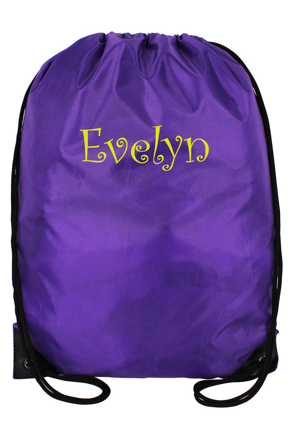 Purple Flat Drawstring Backpack #8886-PURPLE