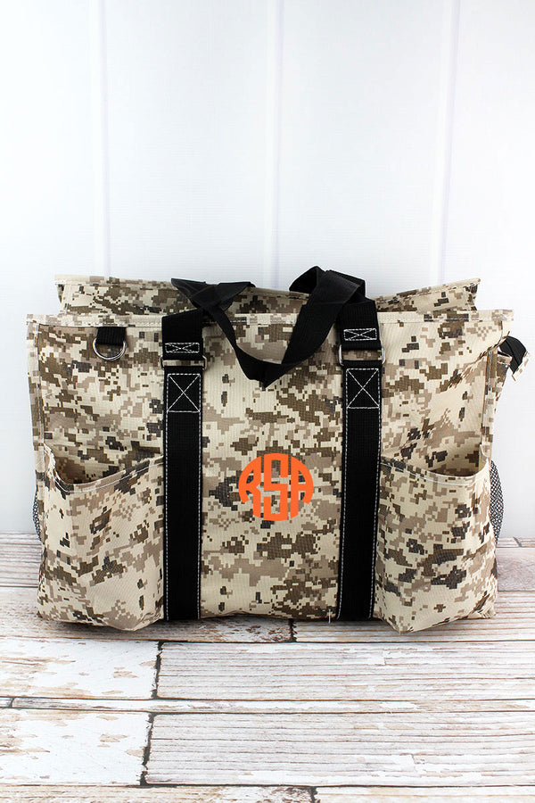 Digital Camo with Black Trim Large Organizer Tote