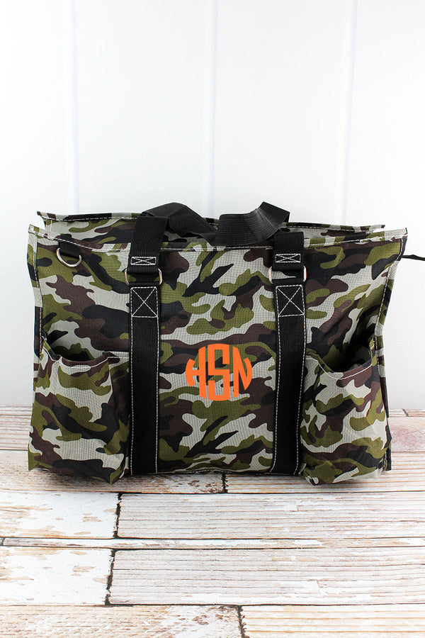 Army Camo with Black Trim Large Organizer Tote
