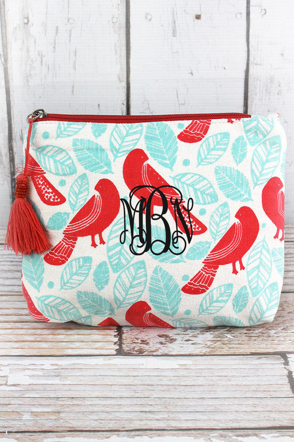 Botanical Birds Coral and Light Blue Tassel Cosmetic Bag