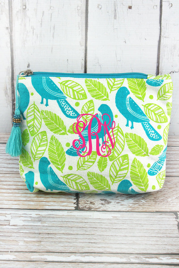 Botanical Birds Turquoise and Lime Tassel Cosmetic Bag