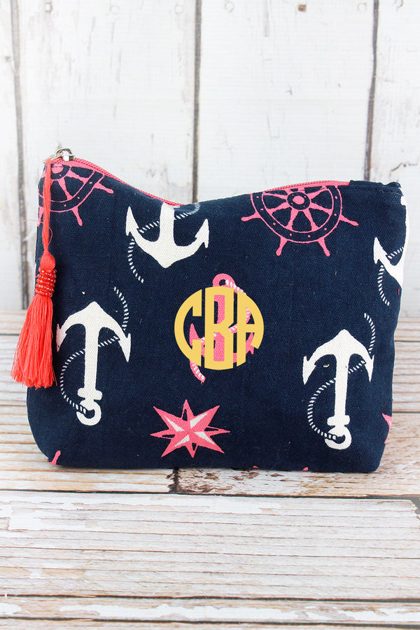Pink and White Nautical Anchors Navy Tassel Cosmetic Bag