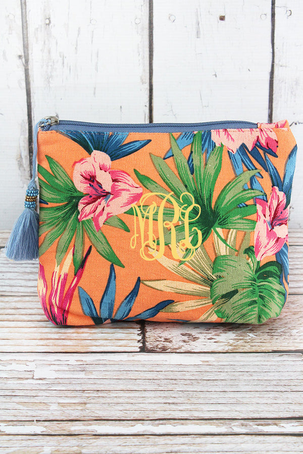 Tropical Getaway Peach Tassel Cosmetic Bag