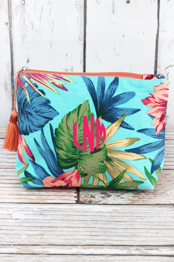 Tropical Getaway Turquoise Tassel Cosmetic Bag