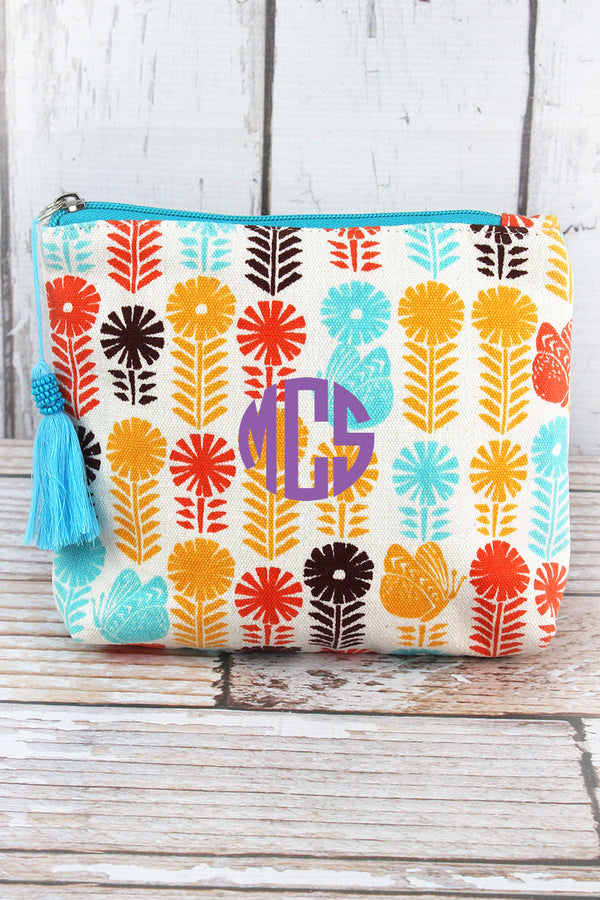Butterfly Blooms Blue Multi-Color Tassel Cosmetic Bag