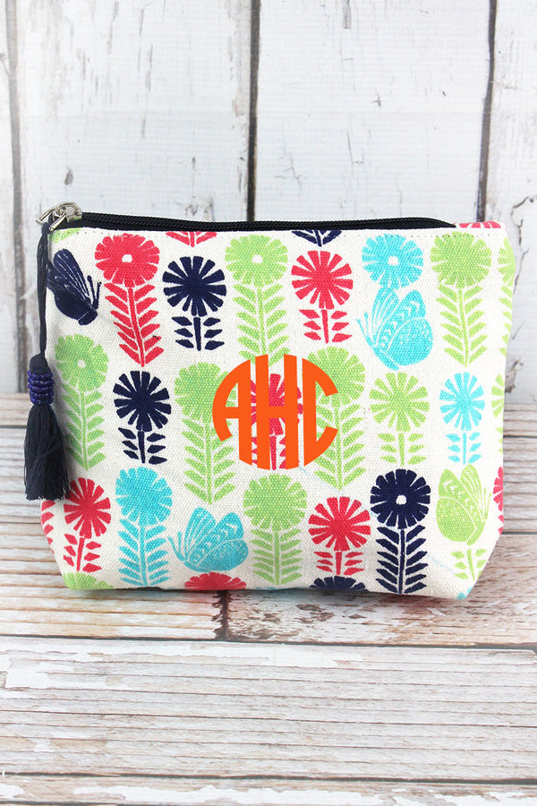 Butterfly Blooms Navy Multi-Color Tassel Cosmetic Bag