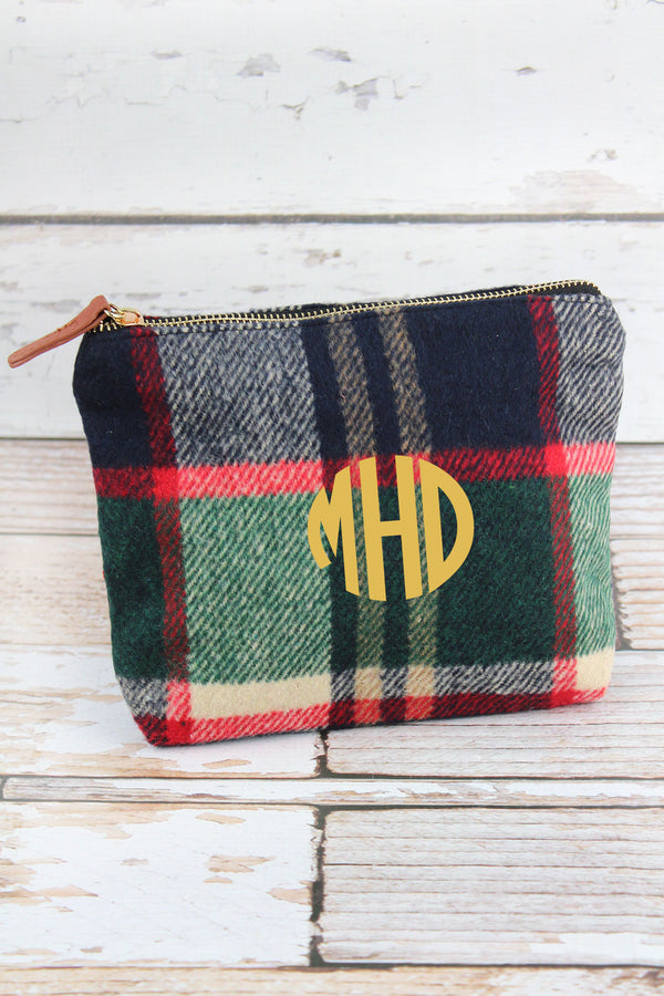 Navy Autumn Plaid Pouch
