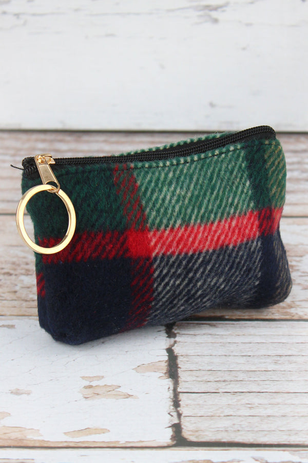 Navy Autumn Plaid Coin Purse