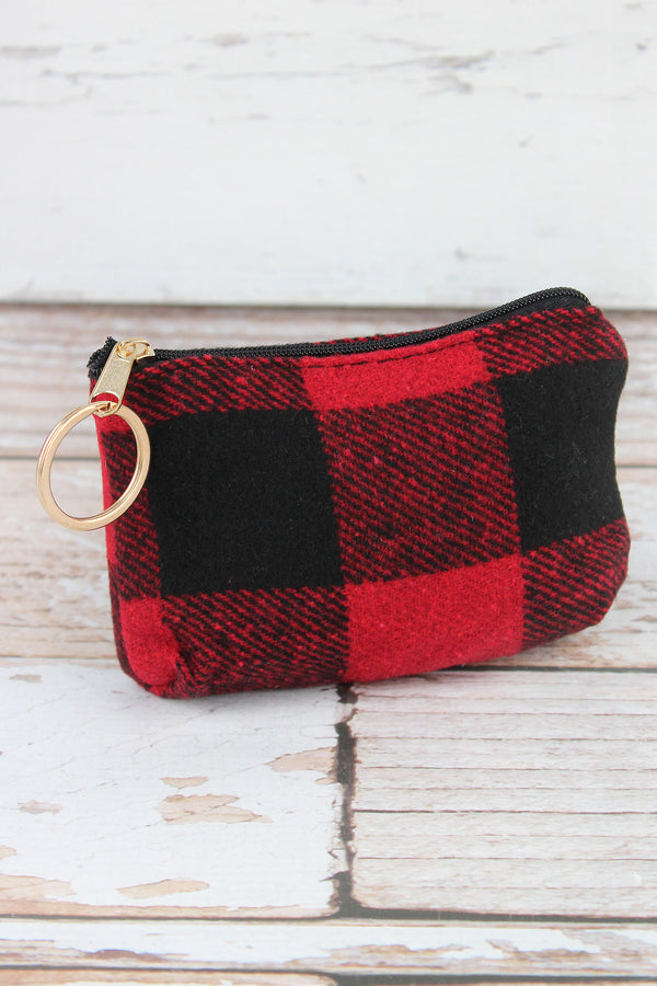 Red and Black Buffalo Check Coin Purse