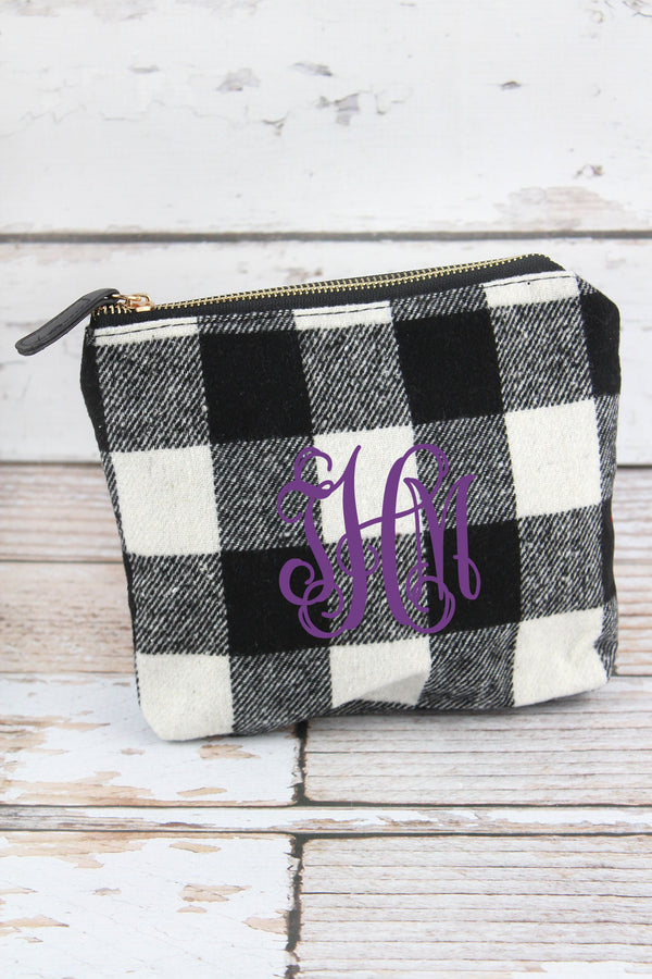 Black and White Buffalo Check Pouch
