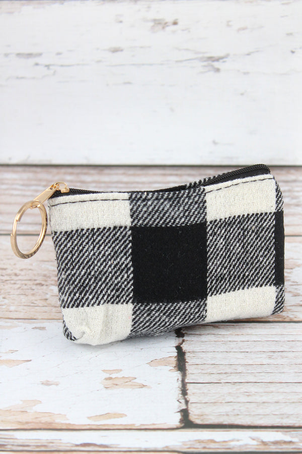 Black and White Buffalo Check Coin Purse