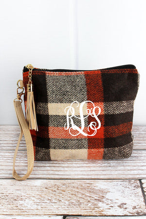 Pumpkin Patch Plaid Tassel Wristlet Pouch