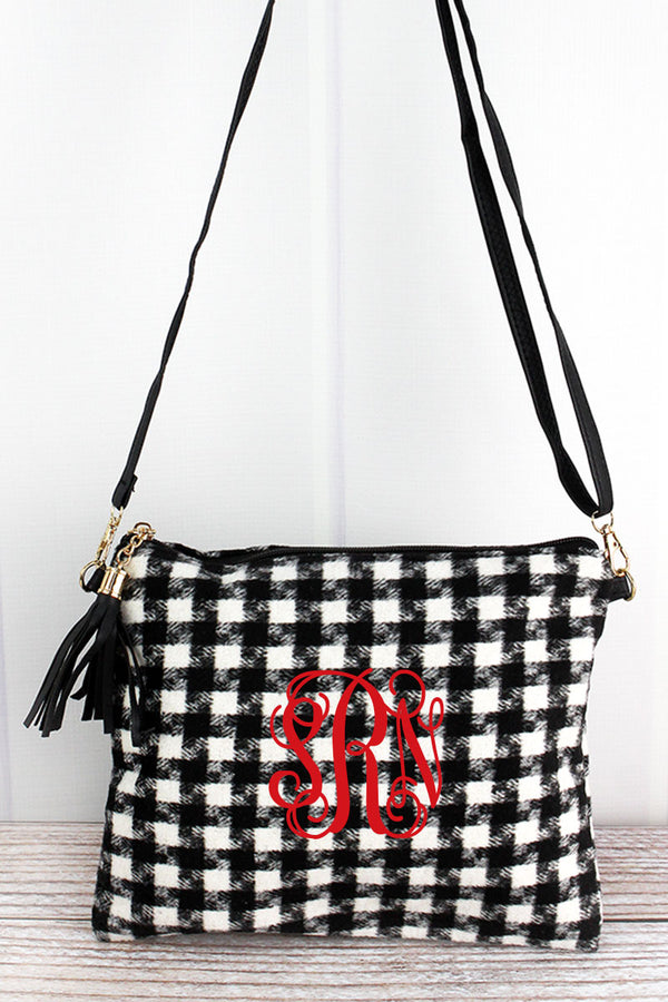 Black and White Houndstooth Tassel Crossbody Clutch